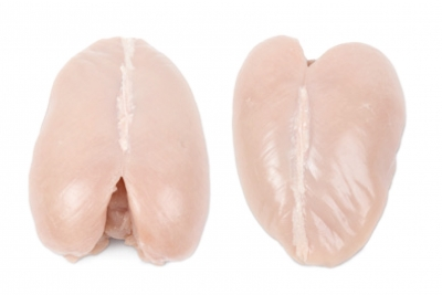 Whole breast, bone-in, without skin ( tender chicken )
